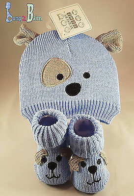 Baby Boy Knitted Hat and Booties gift set