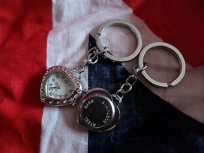 Pink Heart  Keyring Watch (M27) Valentine Day Gift  NEW BATTERY BEFORE POSTING