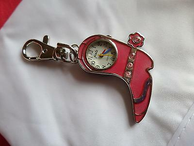 Red Cowboy Boot Keyring Watch (M15)NEW BATTERY BEFORE POSTING FREE P&P Xmas Gift