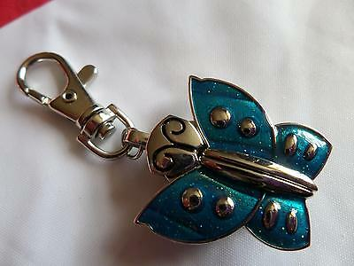 Blue Glitter Butterfly  Keyring Watch (M12)NEW BATTERY BEFORE POSTING FREE P&P