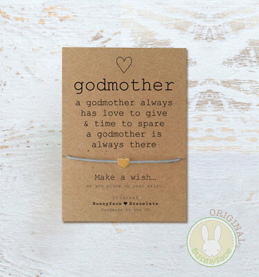 **Godmother Wish Bracelet**Friendship Card Christening Gift Thank You Auntie
