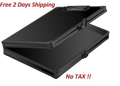 Vaultz Briefcase Aluminum Locking Storage Clipboard Hard Solid Paper Case Black