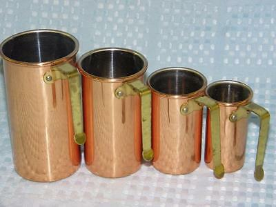 4 vintage Copper-Clad Measuring Cups -- 1/4  1/2  3/4 and 1 cup