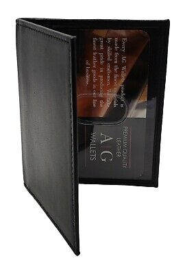 AG Wallets Mens Slim Cow Leather Bifold 2 ID Wallet Holder Drivers Licence BK