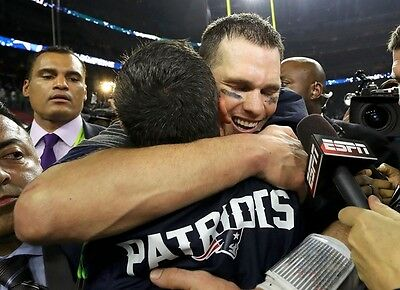 Superbowl LI - Tom Brady hugging celebration photograph - New England Patriots