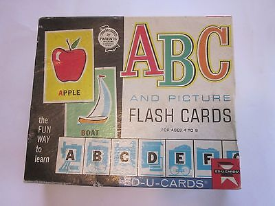 Vintage 1963 ABC and Picture Ed-U-Cards Flash Cards in Box Alphabet