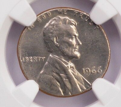 NGC 1c 1966 Lincoln Cent on Clad Dime Planchet MS-63