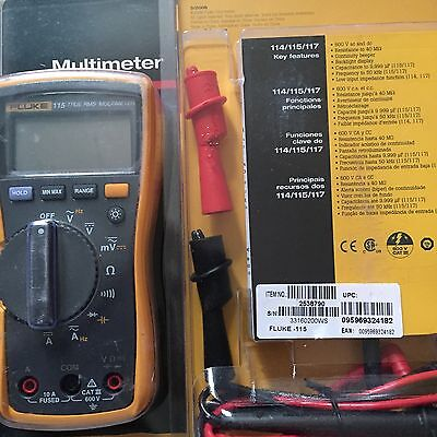 Fluke 115 True RMS Multimeter With Fluke AC175 Alligator Clip Set. Brand New!!