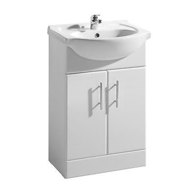 550mm White High Gloss Bathroom Cloakroom Vanity Unit, Ceramic Basin, Soft Close