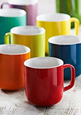 Set of 2, 4 & 6 Brights Colour 14oz Fine Stoneware Barrel Mugs Tea Coffee Latte