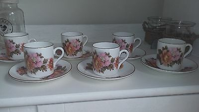Royal Grafton Beautiful Rare Floral 12 Piece Coffee Set - 6 Cups And 6 Saucers