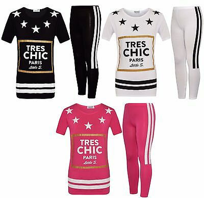 "Girls Star ""Tres Chic"" Paris Top & Legging 2 Piece Set White 7-13 Years"