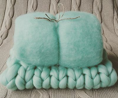 Aqua Mint Green Newborn Photo Prop Set Basket Stuffer Baby Fluff and Blanket RTS