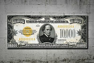 Mindblowing Artwork $10000 Dollars 1934 Gold Certificate Canvas 40 Inch Unc