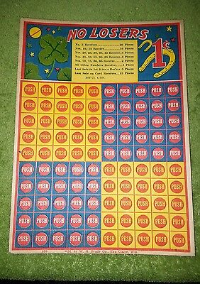 """Early Punchboard """"NO LOSERS"""" 1¢ - Unplayed - VGC!"""