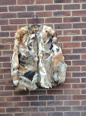 Vintage Real Fox Fur Jacket Coat Rare Colours Small 70's Chic Made In Hong Kong