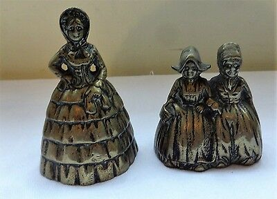 2 antique Crinoline Lady Brass Bells, Includes a 2 lady bell