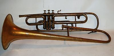 Valve Trombone by Henry Pourcelle 1910's made in France Imported by Bruno