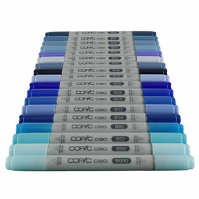 Copic Ciao Twin Tip Marker Pen Blue Colours