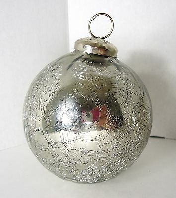 Vintage Silver Crackle Mercury Glass Christmas Ornament - Real Kugel ? Not sure