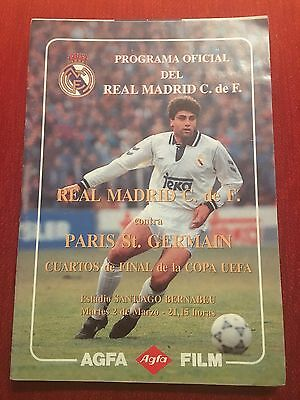 Programme Official Real Madrid Psg Paris St Germain Uefa Cup 1992 1993