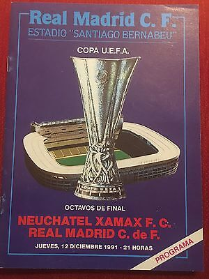Programme Official Real Madrid Neuchatel Xamax Uefa Cup 1991 1992