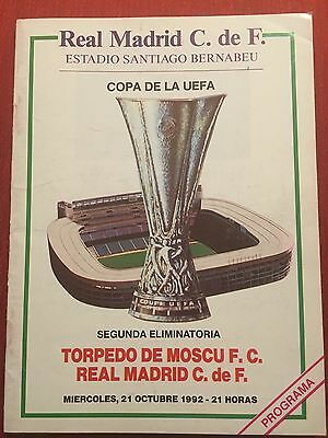 Programme Official Real Madrid Torpedo Moscow Uefa Cup 1992 1993