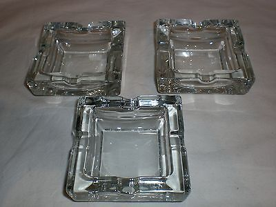 3x Aschenbecher Ascher aus massivem Glas Ashtray glass 11x11x4cm Vintage