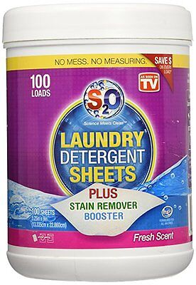NEW! S2O Laundry Detergent Sheets, Stain Remover Booster, Fresh Scent, 100 Loads