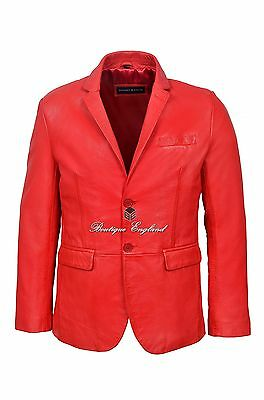 Mens Leather BLAZER RED Classic ITALIAN Tailored Soft REAL LEATHER 3450