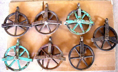 "7 Antique Vintage Cast Iron Barn Hay Trolley Pulley 5"" Dia Wheel -Works -GC"