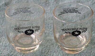 Pair Of Rare Vintage Jack Daniels Tennessee Sipper Lowball Glasses