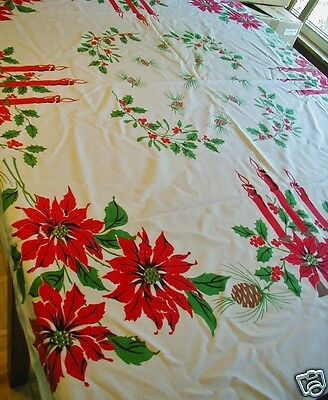 Vintage Linen Christmas Tablecloth Candles Pine Cones Poinsettias Holiday