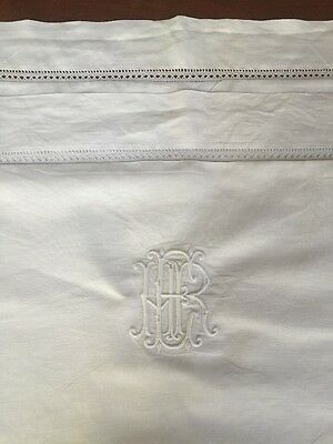 Stunning Pair Of Vintage Antique French Monogrammed Drawn work Pillow Shams