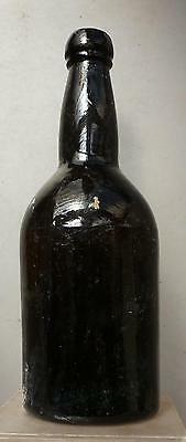 BLACK GLASS ALE BOTTLE-Three Piece Mold-Privy Recovered-c.1850s