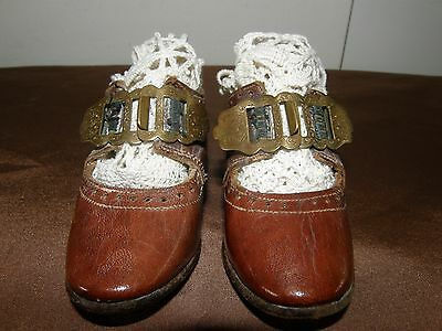 Pair Of Antique French Victorian Miniature Baby Shoes.