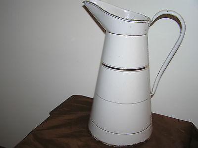 Large Antique Enamelware Water Pitcher.