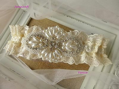 Wedding Garter 'venice' Ivory Cream Lace Pearl Crystal Luxury Bridal Gift