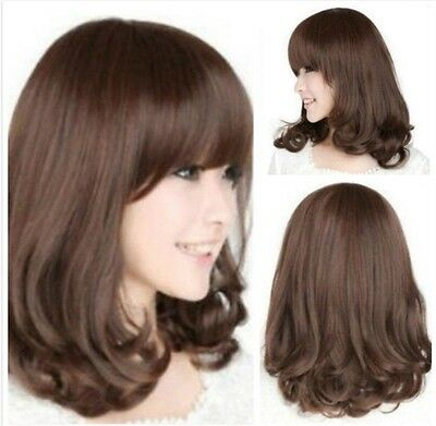 Women Fashion Medium Long Curly Brown Heat Resistant Hair Wigs Cosplay Party Wig