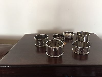 Lovely Selection Of 6 Solid Silver Napkin Rings (Various Makers And Dates)