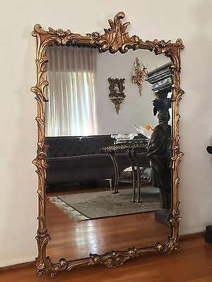 Giltwood French Rococo Hand Carved Wood Wall Mirror