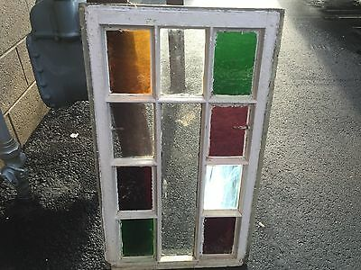 "Gorgeous antique c1880 Queen Anne STAIN glass window frame 28.75"" X 17""- #5"