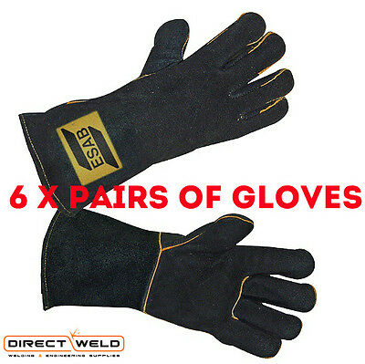 6 X ESAB Heavy Duty Black Mig Welding Gloves - Size 9/L