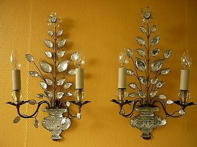 Pair of Original French Maison Bagues Wall Sconces crystal leaves and urns