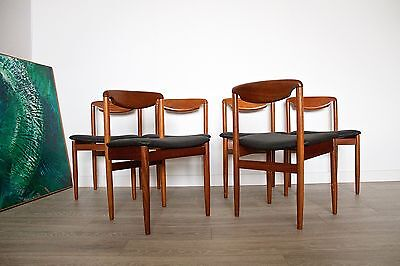 DELIVERY £60 Mid Century Retro Danish Teak 6 Dining Chairs Black Leatherette