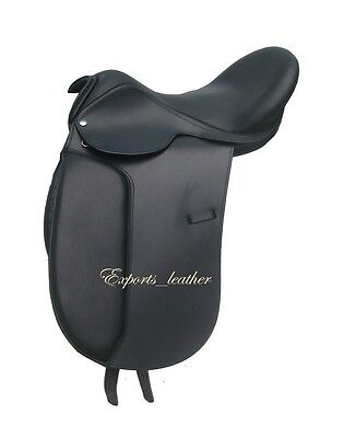 """New Leather Dressage Treeless Saddle Black Size 16, 17"""" & 17.5"""" with Accessories"""