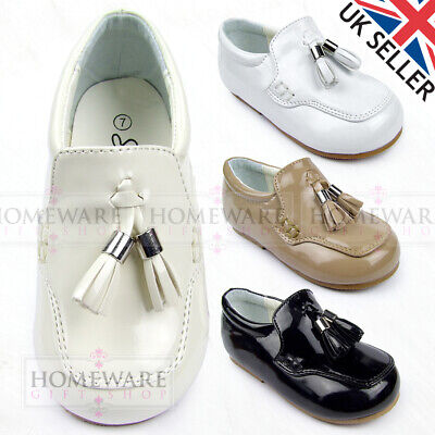 Baby Boys Spanish Style Loafer Shoes Patent White Camel Cream Black Sizes Uk 2-8