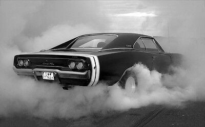 Dodge Charger Burnout New A1 Canvas Giclee Art Print Poster Framed