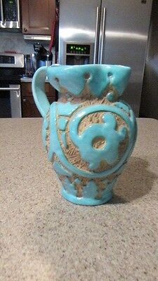 ITALIAN POTTERY! - PV, Number 0219, Ceramic, Teal, Raised Decor Pitcher, New