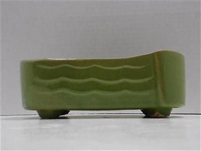 Vintage Pottery Planter Mid Century Style Green Footed Garden Window